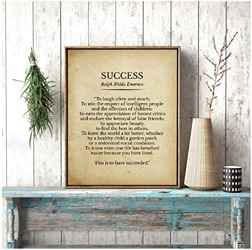 dayanzai Success Ralph Waldo Emerson Poem Print Inspirational Quotes Vintage Poetry Poster Literature product image