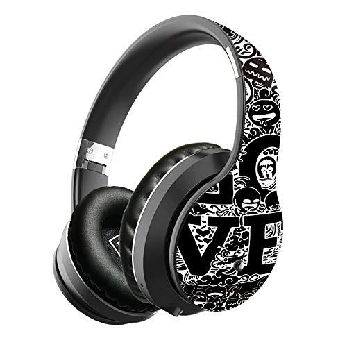 azorex Auriculares Inalambricos Diadema con Micrófono Cascos Cerrados Bluetooth Cancelacion de Ruido Auriculares Estéreo Plegable Gaming Deporte Micro SD/TF (NegroPlata)