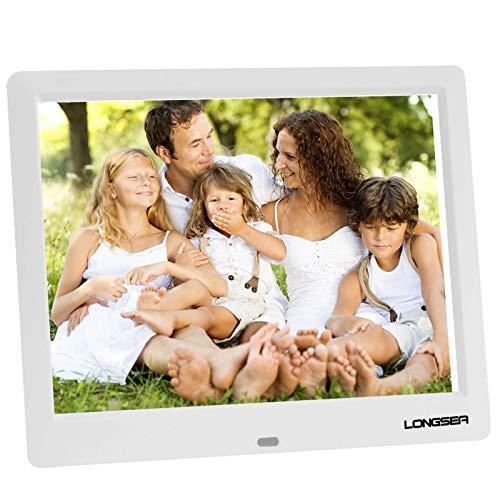 LONGSEA Digitaler Bilderrahmen Full HD 8,7 Zoll 1024x768 IPS Hochauflösender Foto Musik Video Player Elektronische Album mit Kalenderalarm Auto EIN/Aus Timer und Fernbedienung (Weiß)