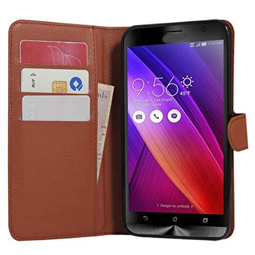 Zenfone 2 Hülle, HualuBro [All Around Schutz] Premium PU Leder Leather Wallet Handy Tasche Schutzhülle Case Flip Cover für Asus ZenFone 2 ZE551ML / ZE550ML 5,5 Zoll Smartphone - Braun