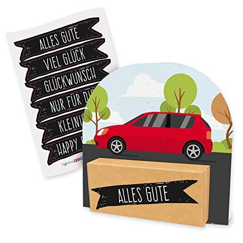 itenga Geldgeschenk oder Gutschein Verpackung Geschenkaufsteller Motiv/Anlass Auto Führerschein Tankgutschein mit Stickerbogen aus Karton 12x11,5cm