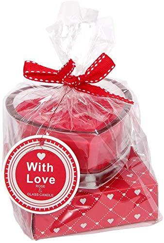 Monsterzeug Liebeskerze mit Rosenduft, Teelicht im Herz Glas, Wachs Duftkerze, Romantisches Valentinstag Geschenk, Rot