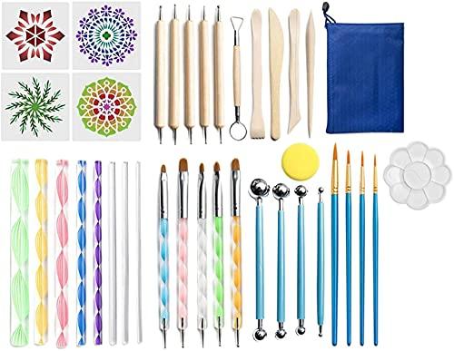 38 Pieces/Piece Mandala Mandala Mandala Dot Tool Art Rock Painting Kit Dot Pen Paint StencilDurable et Pratique