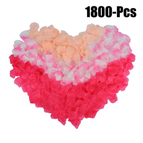 Rose Petals, Coxeer 1800Pcs Flower Petals Artificial Petals Flower Petals Decoration Petals for Valentine Ceremony Wedding or Home Hotel Garden Bouquet Party Decorations(Multi)