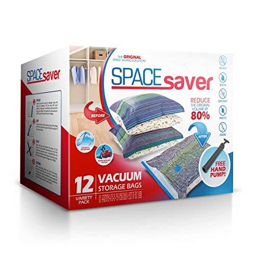 Spacesaver Bolsas de Almacenamiento al vacío Reutilizables Premium. Válvula de Doble Cierre y Cierre de Cremallera, Bomba de Mano de Viaje incluida