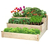 KINGSO 3 Tier Raised Garden Bed Wooden Elevated Planter Box Outdoor Solid Wood Planter Gar...