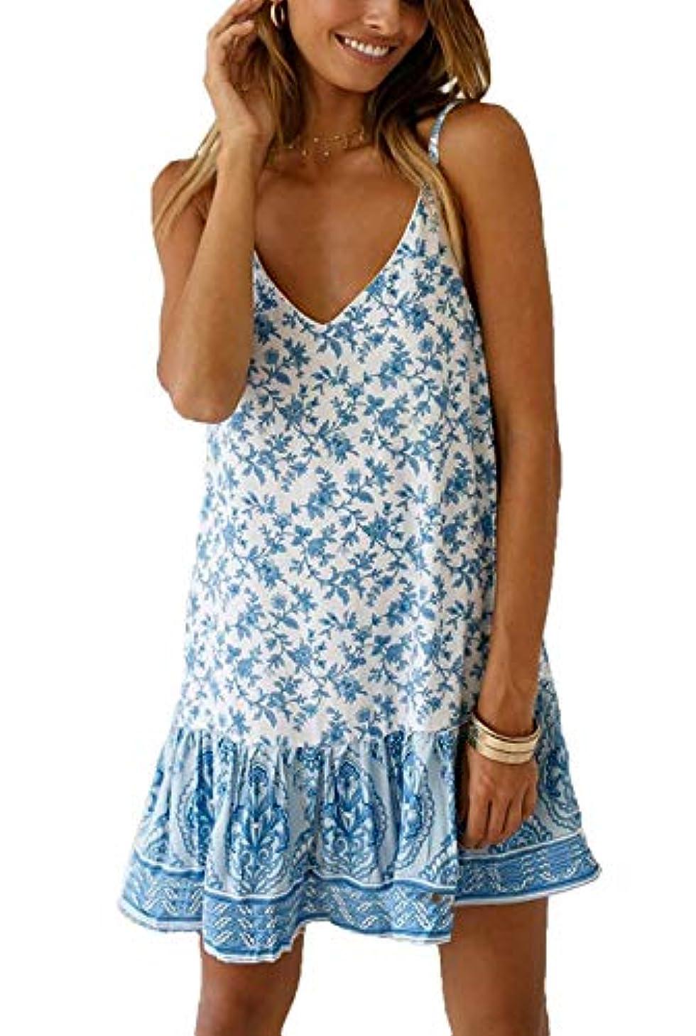 Womens Summer V Neck Spaghetti Strap Sundress Casual Floral Printed Sleeveless Mini Dress