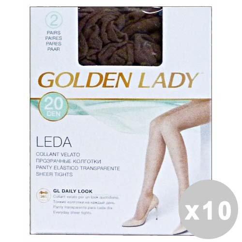 GOLDEN LADY LEDA 10-delige set GOLDEN LADY LEDA panty 20den rookgrijs maat III * 2 paar 22a