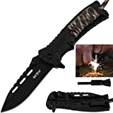 Pocket Knife - Tactical Folding Knife - Spring Assisted Knife with Fire Starter & Paracord Handle -...