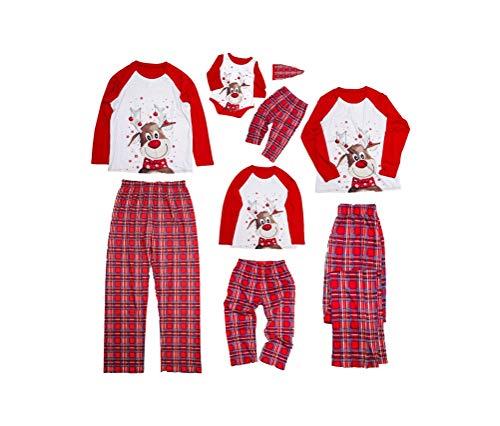 Weihnachts Familien Schlafanzug Futter Plüsch Warme Nachtwäsche Nachthemd Rote Nase Elchdruck Plaidhose Hausanzug Pyjamas Set für Vater Mutter Baby Kinder Junge Mädchen (Herren Rot A, L)