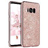 DOMAVER - Carcasa para Samsung Galaxy S8, funda para Samsung Galaxy S8, funda protectora para Samsung S8, diseño de purpurina fina y ligera, para niñas y mujeres, color rosa