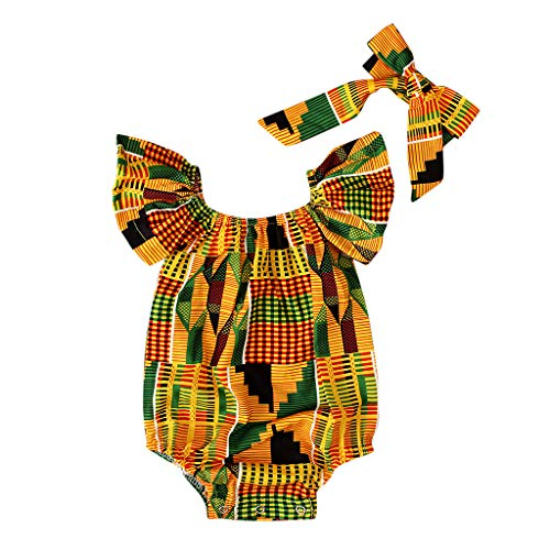 Alwayswin Sommer Mädchen Strampler Baby Mode Ärmellos Overall Afrikanischen Print Ärmellose Strampler Haarband Bodysuit Kleidung Sling Romper Outdoor Bequem Cool Babykleidung