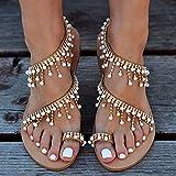 Sandali Piatti con Cinturino da Donna, Bohemia Vintage Gioiello Perline Toe Ring Sandali Gladiatore Scarpe da Spiaggia Romane,40