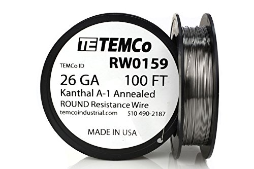 TEMCo Kanthal A1 wire 26 Gauge 100 Ft Resistance AWG A-1 ga