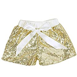 Gold Ivory Sequin Shorts Glitter on Both Sides