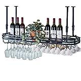 LHNLY-Weinhalter Botellero con Soporte de Cristal, Techo de Metal montado, Soporte para Botellas de Vino Colgante, Soporte para Copas de Vino, Organizador (Negro), Metal, 100cm×35cm
