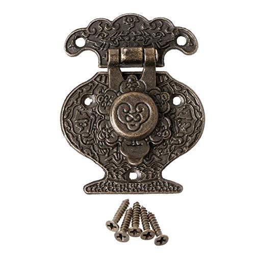 DINGGUANGHE El Cerrojo de pestillo de Bronce Antiguo de Madera joyería gabinete Mini Hebilla de la Cerradura Decorativo -M18