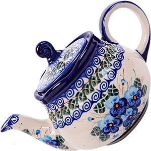 Polish Pottery Ceramika Boleslawiec, 0105/162, Teapot Fruti, 3 1/4 Cups, Royal Blue Patterns with Blue Pansy Flower Motif