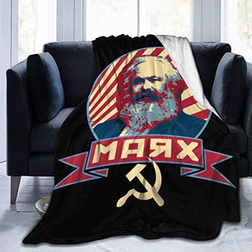 YSJYSJ Karl Marx, Manta de Franela de Lana de Propaganda Comunista, Manta de Cama Ligera Ultra Suave y cálida para sofá Adecuado
