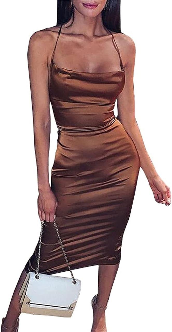 PRIMODA Women's Spaghetti Strap Silky Satin Bodycon Midi Club Dress Backless Lace Up Elegant Party Dress
