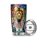 Bannanabut Vaso de viaje con diseño de león colorido animal de doble pared aislado al vacío vaso de viaje con tapa de 20...