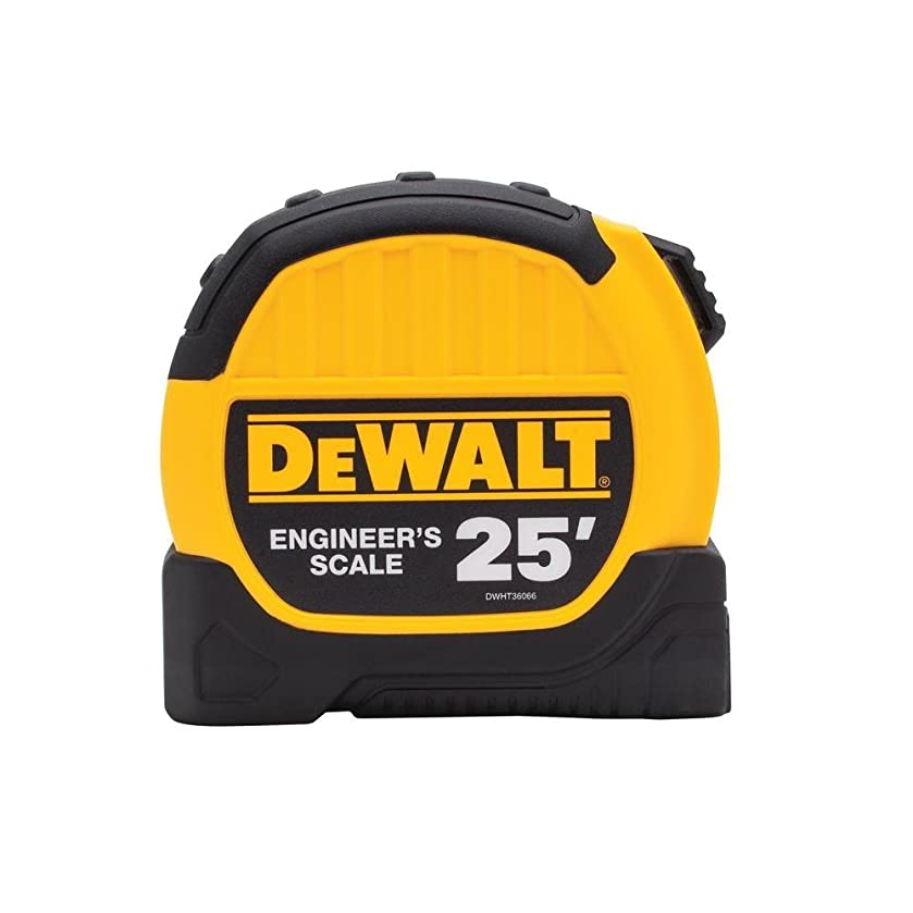 Dewalt DWHT36066S 25ft. Engineer Scale Tape Measure, Black and Yellow