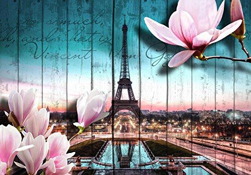 wandmotiv24 Fototapete Holz Blüten Paris Eiffelturm, XS 150 x 105cm - 3 Teile, Fototapeten, Wandbild, Motivtapeten, Vlies-Tapeten, Abstrakt, Blumen, Wand M0543