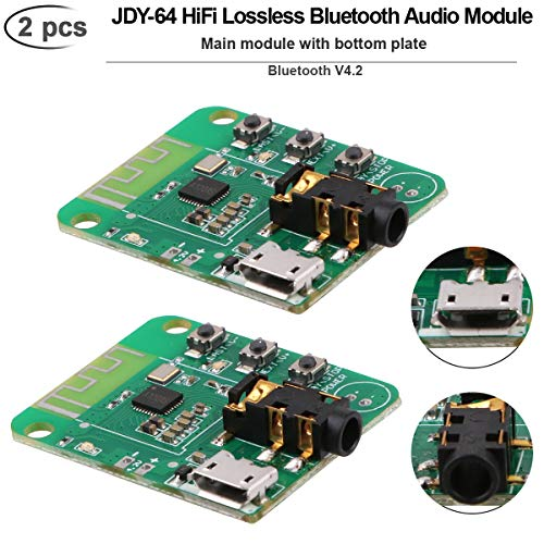 MakerFocus 2pcs Bluetooth Audio Module, Bluetooth V4.2, JDY-64 Wireless Bluetooth Audio Module, HiFi Audio Receiver Module Bluetooth Amplifier Board, Transmission Distance 15m, Support Button Control