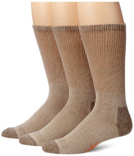 Dockers Men's 3-Pack Non-Binding Cushion Comfort Crew, Khaki, Shoe Size: 6-12 (Sock Size: 10-13)