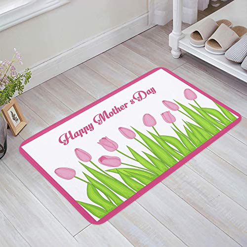 Alfombra estera del piso Tapetes Felpudo Tulipán rosa Flores Plantas verdes Día de la madre Ramo floral alfombras 40X60CM