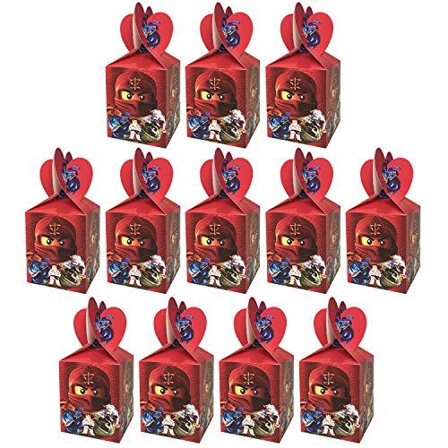 Qemsele Party-Schachteln Partytüten 12 Stück, Kinder Mitgebsel Kindergeburtstag Gastgeschenke Tüten Tasche, Kordelzug Rucksack Bag Turnbeutel für Mädchen Kostümparty, Geburtstagsfeier (Ninja)