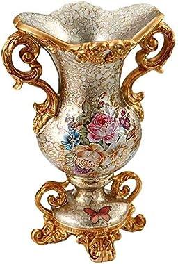 LILIS 花瓶 陶器 花器 30.5センチメートル背の高い樹脂フラワーベースジャーヨーロッパの牧歌的な国の花瓶のためのドライフラワー、ホーム卓上装飾飾りのためにリビングルームベッドルームシルバー