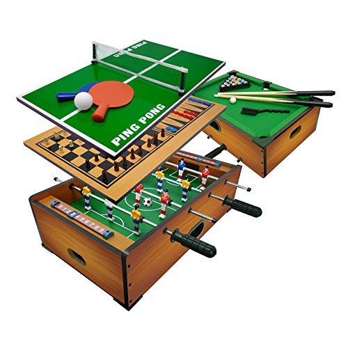 Sport1 Multigioco 6 in 1 da Tavolo - Calciobalilla 6 vs 6 Aste Uscenti / Ping Pong / Tavolo da Biliardo / Scacchi / Dama & Backgammon CM 51 x 31 x 16