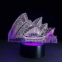 オペラハウス3DビジュアルLedナイトライトクリエイティブテーブルランプリビングルーム装飾ランプタッチランパラルミネウス