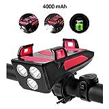 Frontal LED Recargable, Luz Bicicleta Recargable USB 4 en 1 Impermeable Luces para Bicicleta con Bocina, Soporte Teléfono Bicicleta, 4000mAh Power Bank Luces Bicicleta con 3 Modos (Rojo)