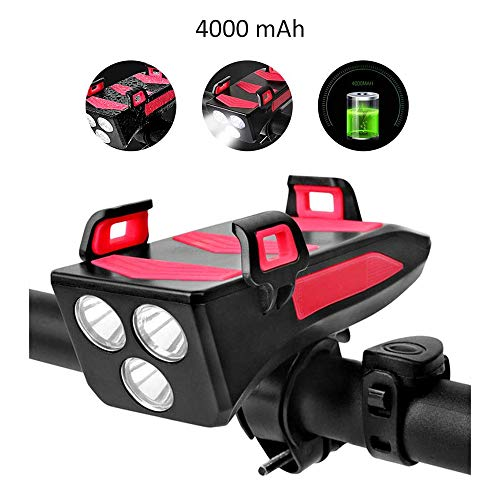 BUWEN LED Fahrradbeleuchtung,USB Fahrrad Licht Fahrradlichter mit Telefonhalter 3 Lichtmodi 5 Sounds Wasserdicht Frontlicht für Mountain Road Bike 4000mah (rot)
