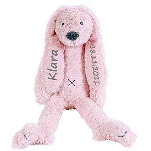 Elefantasie Stofftier Hase mit Namen und Geburtsdatum personalisiert Geschenk 30cm rosa