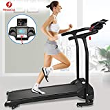 Fitnessclub 2HP Folding Treadmill Electric Motorized Power 12KM/H Running Fitness Machine with W/PAD Holder,Hand Grip Pulse Sensor for Home, Gym, Walking Jogging Cardio Fitness Exercise Trainer