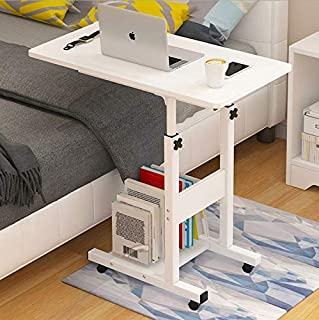 Rubik Bed Table for Laptop Breakfast Food, Bedside Table Height Adjustable (60x40cm) White