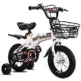 "K-G Bicicleta Infantil Bicicleta Girl'skids Niño 3 Colores del Muchacho, 12"", 14"", 16"", 18"" con Estabilizadores, Botella De Agua Y Soporte. (Color : White, Size : 12inch)"