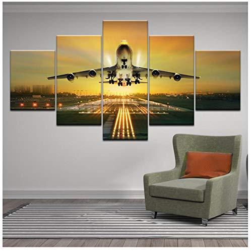 XXSCZ 5 Leinwandbilder Verschönern Sie 5 Stück Sonnenuntergang Lichter Flugzeug Rasen HD Leinwand Malerei Wandkunst Flugzeug Poster Home Decor Bilder für Wohnzimmer