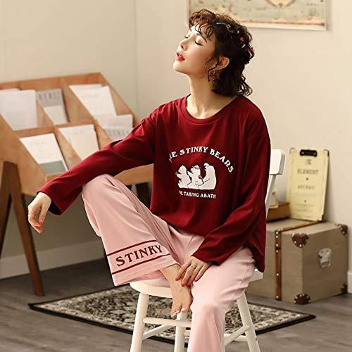FLORVEY Conjunto de Pijama de otoño para Mujer de Manga Larga y sartenes Ropa de Dormir camisón de algodón para Mujer Ropa de hogar Informal Pijamas encantadores Pijamas
