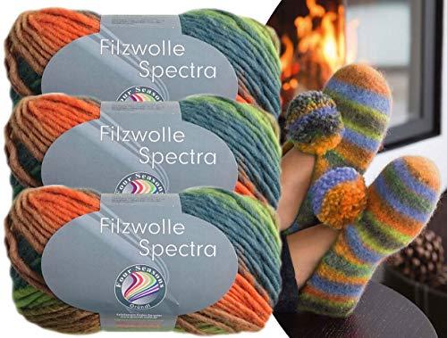 Gründl 3x100 Gramm Filzwolle Spectra aus 100% Schurwolle, (Sparset 02 Orange Grün Mix) inkl. Strickanleitung für Filzhausschuhe + 3 Strasssteine zum aufnähen