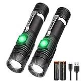 LED Taschenlampe Extrem Hell (mit 18650 Akku), iTonics Kleine Taschenlampe USB Aufladbar, Starke SOS Taktische Taschenlampen LED mit 4 Modi, Legierung Taschenlampe Wasserdicht für Kinder Erw(2 Stück)