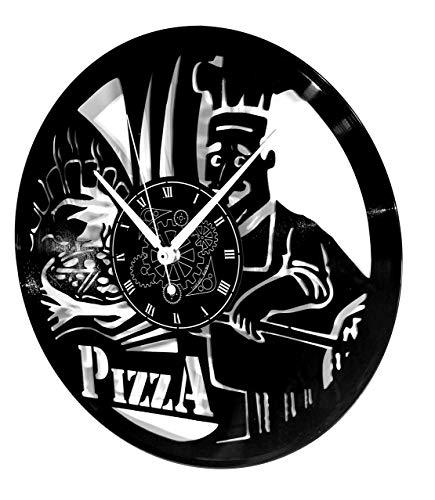 Instant Karma Clocks Orologio da Parete in Vinile a Tema Pizza Ristorante Pizzeria Forno Margherita Cucina Napoli, Vintage, Pizzaiolo