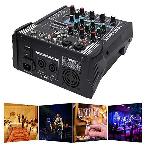Oumij1 Professionelle Stage Mixer Soundkarte Konsole Systemschnittstelle 4-Kanal Digital USB Bluetooth MP3-Computereingang 48 V Phantomspeisung Stereo DJ Studio Streaming FX 16-Bit-DSP-Prozessor(EU)