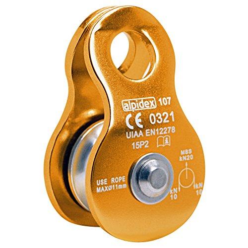 ALPIDEX Seilrolle Umlenkrolle 20 kN - geeignet für Seile bis 11 mm Durchmesser - EN12278, Farbe:orange