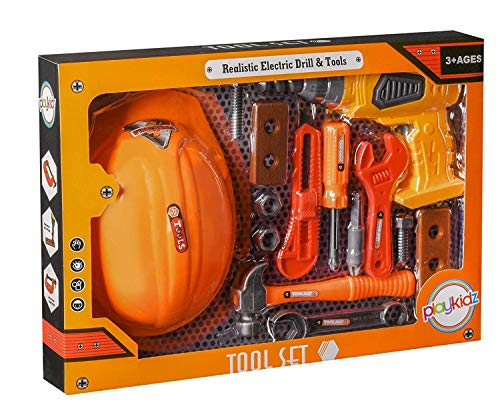 Playkidz Tool Set for Kids 14-Piece Boys & Girls Toy Playset w/ Construction Hard Hat, Working Electric Power Drill, Hammer, Screwdriver, Wrench & Other Realistic Accessories Recommended Ages 3+