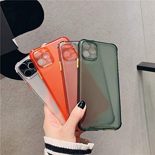 YABAISHI Caja de teléfono móvil con Helada congelada, Simple y Alta translúcida 12mini / 11PROMAX Funda de teléfono móvil iPhone7 / 8plus Anti-Drop XR (Color : Dark Green, Size : iPhone XR)