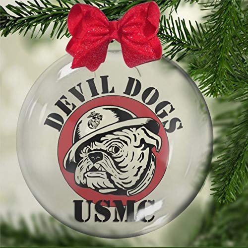 DONL9BAUER Marine Devil Dogs Acrylic Christmas Ball Ornament,family patriot hero armed services Christmas Bauble Tree Ornament with presents for Church Members,Holiday,Family & Friends.